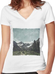 High Valley  Italian Alps Women's Fitted V-Neck T-Shirt