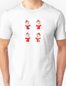 Vector cute snowman red collection Unisex T-Shirt