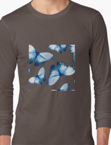 Beautiful big butterflies in blue tones, fun bold animal print design in blue, classic statement fashion clothing, soft furnishings and home decor  Long Sleeve T-Shirt