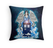 The angel has a phone box Throw Pillow