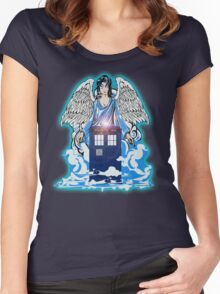 The angel has a phone box Women's Fitted Scoop T-Shirt
