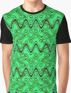 Green Black Squiggle Pattern Graphic T-Shirt