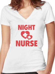Night Nurse Women's Fitted V-Neck T-Shirt