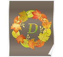 Autumn Leaf Grey Initial Monogram D Poster