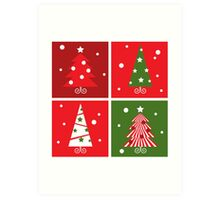 Christmas Trees design blocks icons : red and green Art Print