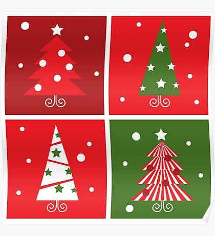 Christmas Trees design blocks icons : red and green Poster