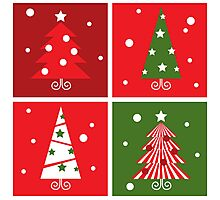 Christmas Trees design blocks icons : red and green Photographic Print