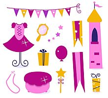 Vector collection of design elements for Princess Party Photographic Print