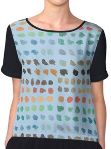 Cool Spectrum Paint Splodges on Sky Blue Hand Painted Watercolors Chiffon Top