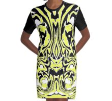 YELLOW IN TO BLACK AND WHITE Graphic T-Shirt Dress