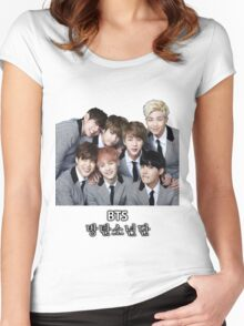 BTS Bangtan Boys Women's Fitted Scoop T-Shirt