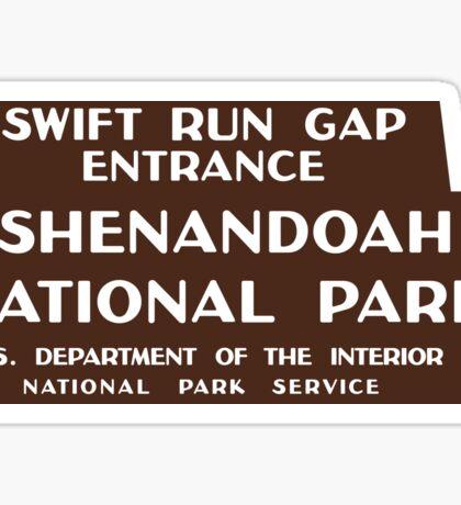 Shenandoah National Park sign Sticker