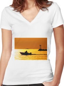 Evening Trip Women's Fitted V-Neck T-Shirt
