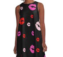 Lipstick Kisses, Black A-Line Dress