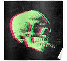 Van Gogh Skull with burning cigarette remixed Poster
