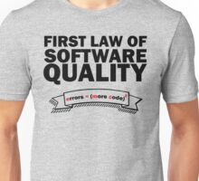 First Law of Software Quality - e = mc2 Unisex T-Shirt