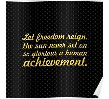 "Let freedom reign... ""Nelson Mandela"" Inspirational Quote (Square) Poster"