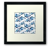 Beautiful small butterflies in blue, fun bold animal print design in blue, classic statement fashion clothing, soft furnishings and home decor  Framed Print