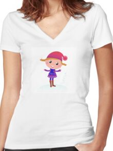 Little Girl in winter cosume isolated on white - vector cartoon Women's Fitted V-Neck T-Shirt