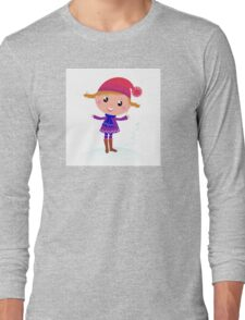 Little Girl in winter cosume isolated on white - vector cartoon Long Sleeve T-Shirt