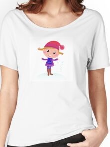 Little Girl in winter cosume isolated on white - vector cartoon Women's Relaxed Fit T-Shirt