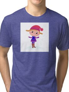Little Girl in winter cosume isolated on white - vector cartoon Tri-blend T-Shirt