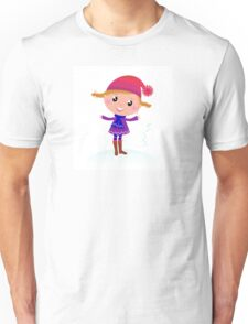 Little Girl in winter cosume isolated on white - vector cartoon Unisex T-Shirt