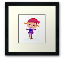 Little Girl in winter cosume isolated on white - vector cartoon Framed Print