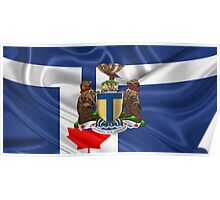 Toronto - Coat of Arms over City of Toronto Flag  Poster