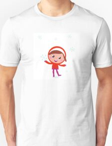 Little Child in winter costume isolated on white Unisex T-Shirt