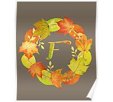 Autumn Leaf Grey Initial Monogram F Poster
