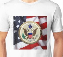 U.S.A.  - The Great Seal over American Flag Unisex T-Shirt