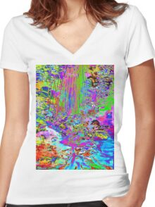 Psychedelic Forest Stream Women's Fitted V-Neck T-Shirt