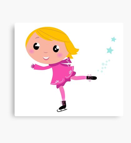 Figure skating Girl in pink costume Canvas Print