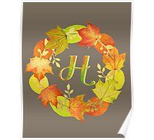 Autumn Leaf Grey Initial Monogram H Poster
