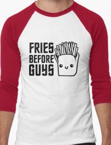 Fries Funny I love Food Junk  Fast Food Fat  Men's Baseball ¾ T-Shirt