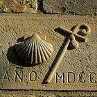 scallop shell symbol, Santiago de Compostela , Spain  by Christopher Barton