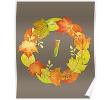 Autumn Leaf Grey Initial Monogram I Poster