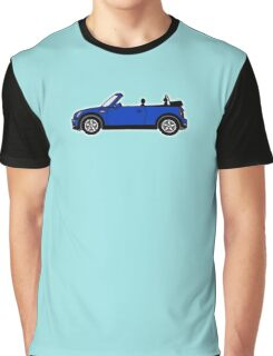Mini, Cooper, Convertible, BMW, Motor, Car, Soft Top, BLUE, on Black Graphic T-Shirt