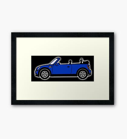 Mini, Cooper, Convertible, BMW, Motor, Car, Soft Top, BLUE, on Black Framed Print