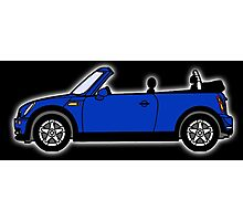 Mini, Cooper, Convertible, BMW, Motor, Car, Soft Top, BLUE, on Black Photographic Print
