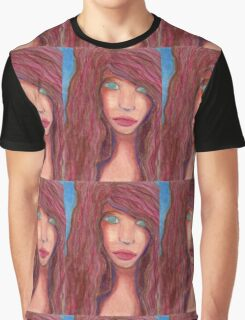 Oil Pastel Girl Portrait Graphic T-Shirt