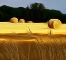 The Color of Straw abstract landscape by Alma Lee Sticker