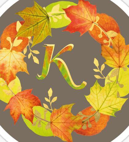 Autumn Leaf Grey Initial Monogram K Sticker