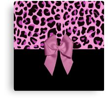 Pink Leopard Print and Bow Canvas Print