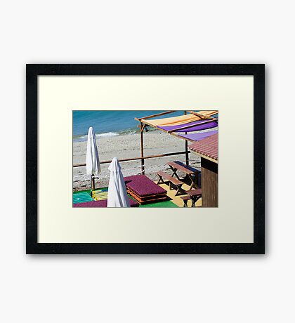 Terrace bar at the beach. Framed Print