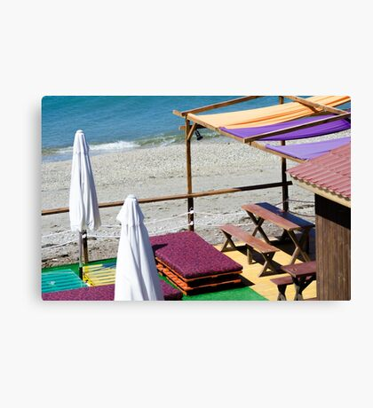 Terrace bar at the beach. Canvas Print