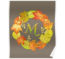Autumn Leaf Grey Initial Monogram M Poster