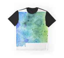 Watercolor Map of Montana, USA in Blue and Green - Giclee Print of My Own Watercolor Painting Graphic T-Shirt
