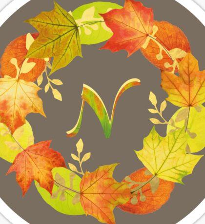 Autumn Leaf Grey Initial Monogram N Sticker